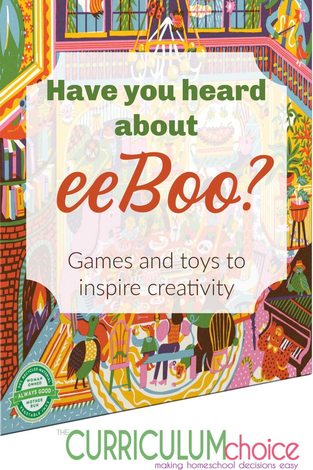 Eeboo offers safe and simple gifts and toys to play and share with your children. Puzzles, toys, educational games and more to inspire creativity. A review from The Curriculum Choice