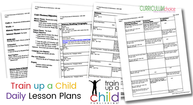 Train up a Child Publishing is a literature based Charlotte Mason approach to homeschooling. The Daily Lesson Plans are already-planned-in-advance and are written for specific grade levels. They include weekly goals and objectives for each subject and include daily lessons  integrating the studies of history, science (K-8), language arts, fine arts, and projects. A review from The Curriculum Choice.