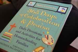 It's easy. It's done for you. Those two criteria really appeal to me as a homeschool mother. Julie Lavender has done all the work. Pull out her 365 Days of Celebration and Praise to start the day. It's appropriate for all ages. A full year of family devotionals.