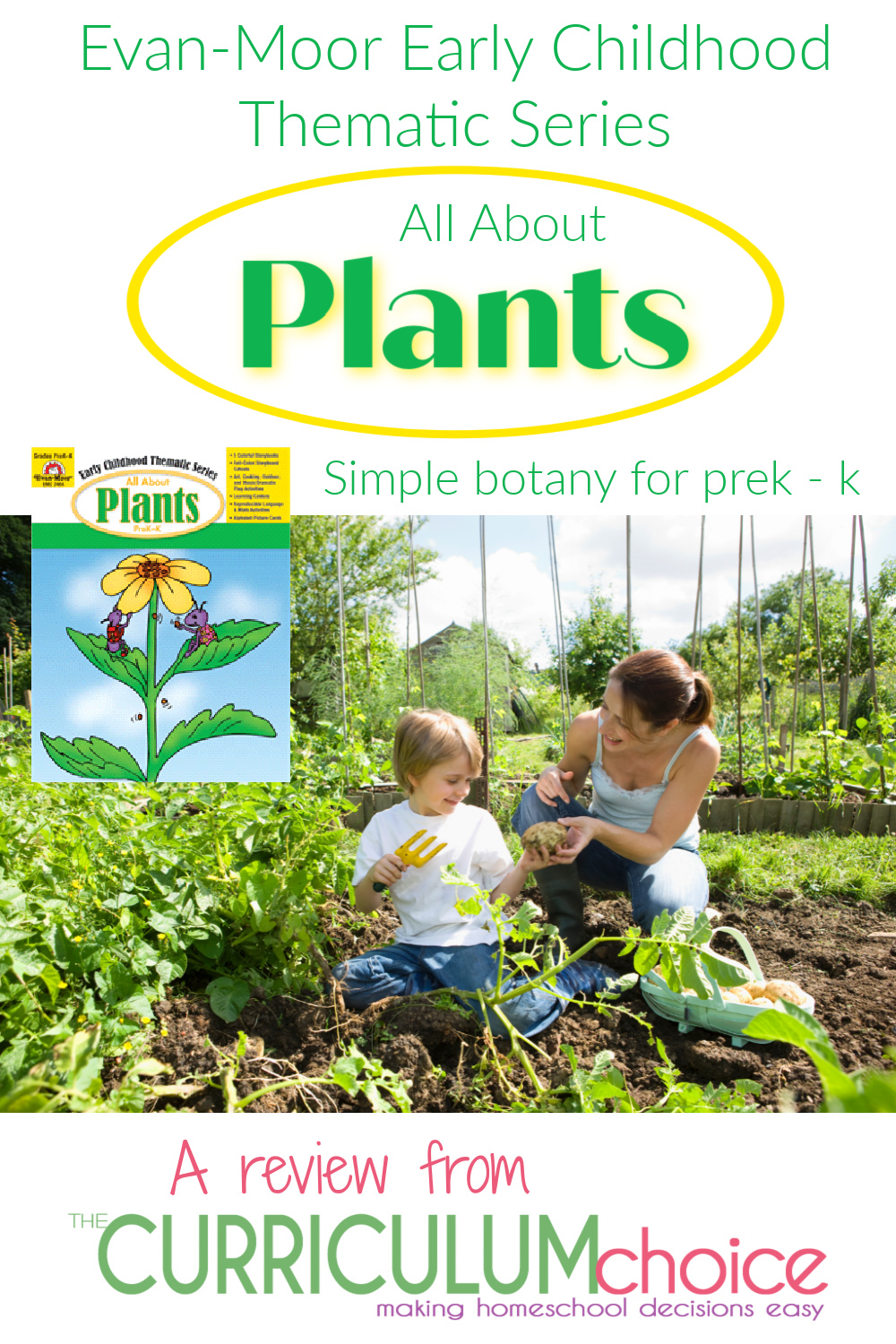 All About Plants is part of a series of science exploration books by Evan-Moor. It includes full color stories and theme related activities for kids in preK-K. A review from The Curriculum Choice