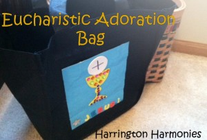 We used the patterns to make this bag to take to Eucharistic Adoration.