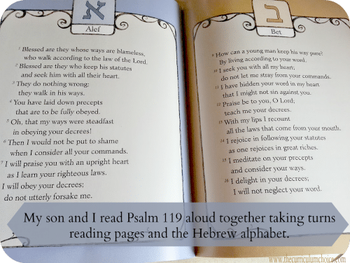 Hebrew Alphabet pages in A Light for my Path also contains the entire Psalm 119. | The Curriculum Choice