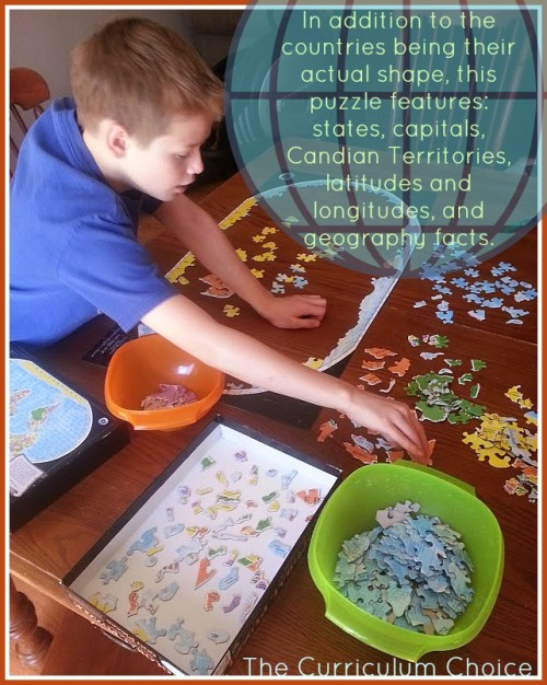 In addition to the countries being their actual shape the Global Puzzle features :  latitude and longitude lines, 193 countries, all 50 U.S. states & capitals,13 territories and provinces of Canada. | The Curriculum Choice