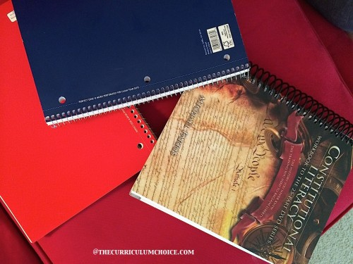 Constitutional Literacy Workbook and spiral notebooks