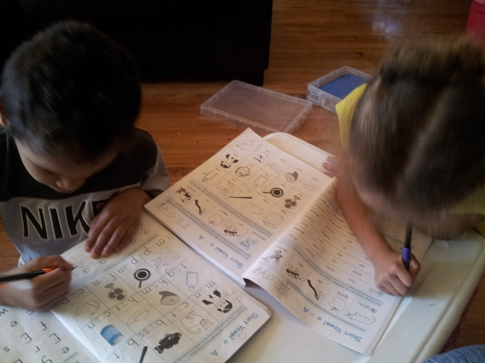 Twins working on Adventures in Phonics