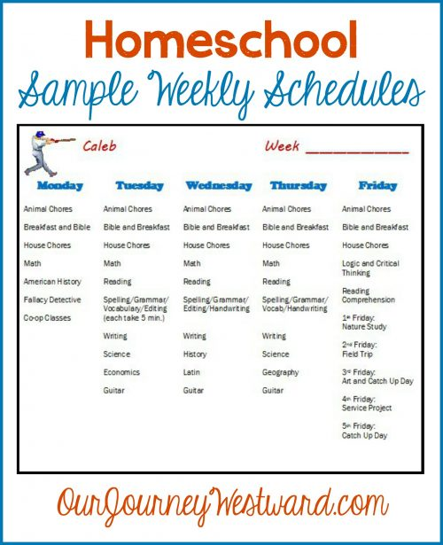 Sample Weekly Homeschool Schedules