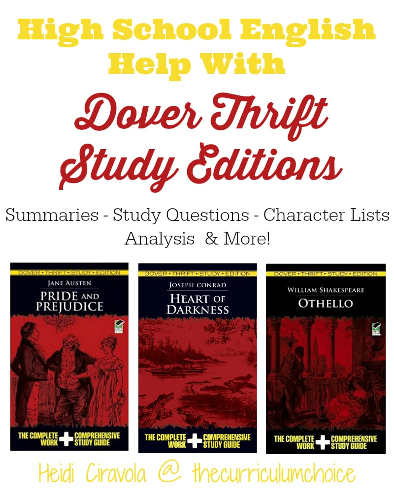 High School English Help With Dover Thrift Study Editions from Heidi Ciravola at The Curriculum Choice
