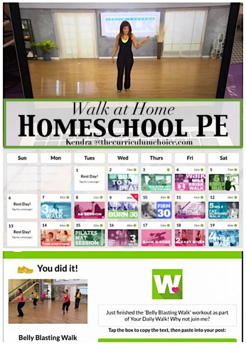 Walk at Home Homeschool PE is an easy way to get your daily workout in or an easy way to get that PE credit and it's way cheaper than a gym membership too!