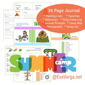 image of summer camp journal pages with text describing details of the eBook