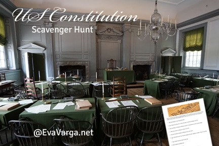 image of room where the US Constitution was drafted and signed with text Our US Constitution: A Scavenger Hunt Activity for Teens @EvaVarga.net