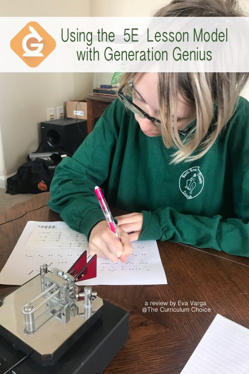 image of a teen transcribing a morse code message with the text overlay Using the 5E Lesson Model with Generation Genius: A review by Eva Varga @The Curriculum Choice