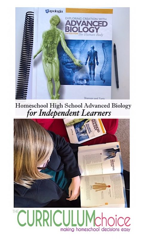 "My high schooler thrives on independent study. She is a ""give me the book and the notebooking journal and let me go"" learner. Apologia Homeschool High School Advanced Biology meets her needs in that way with challenging subjects and the tools for her learning style."