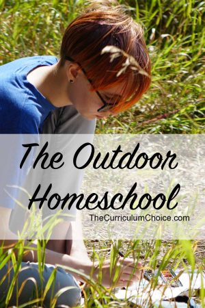 Image of a teen seated in a meadow sketching with text overlay The Outdoor Homeschool