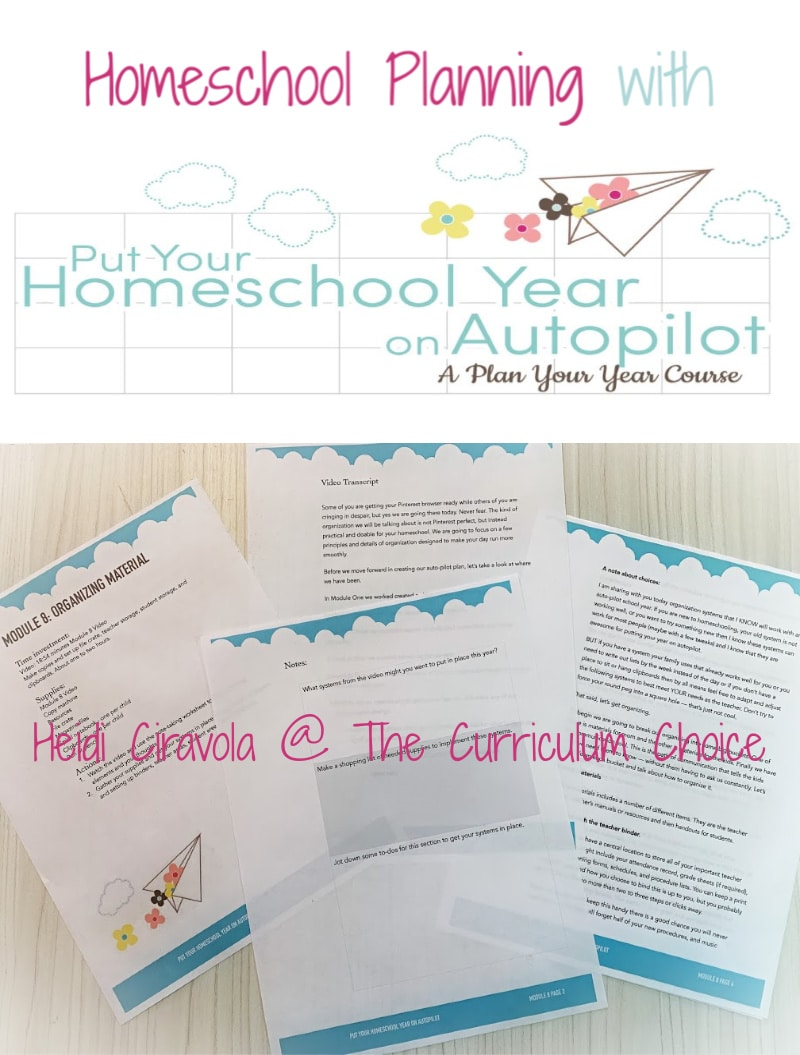 Homeschool Planning: Put Your Homeschool Year on Autopilot - The Autopilot Course from Pam Barnhill is step by step method that guides you through creating a customized homeschool plan for your family. A Review from Heidi Ciravola at The Curriculum Choice