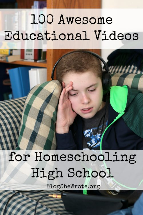 100 Awesome Educational Videos for Homeschooling High School- a teen boy sitting on a sofa watching a video on a tablet