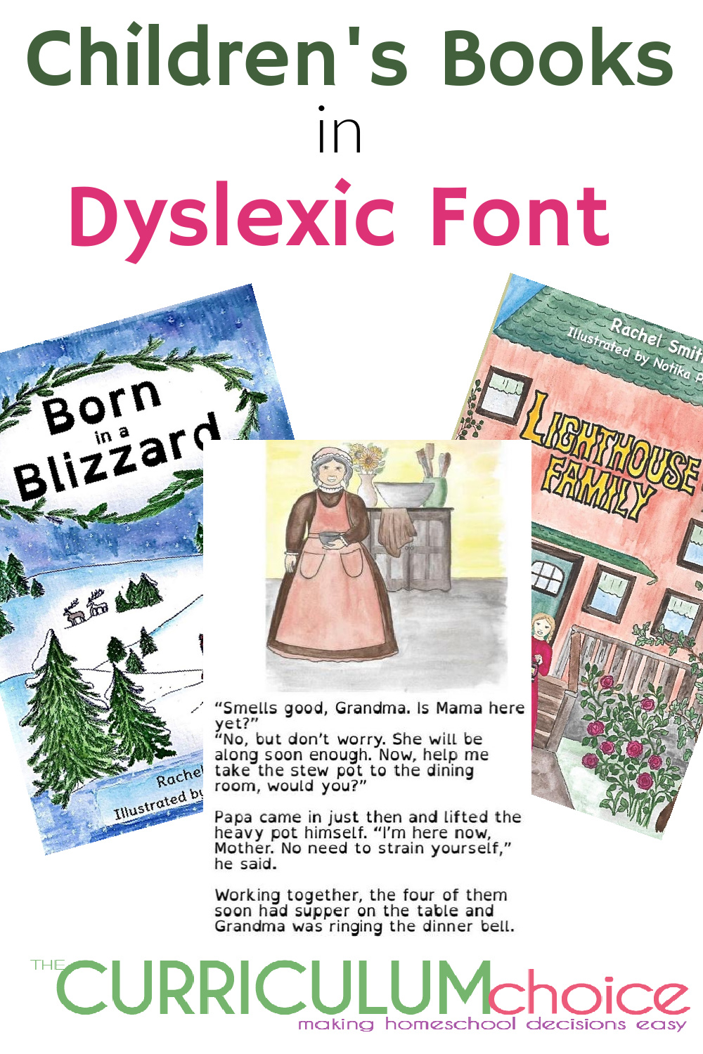 Inspired by her kids with dyslexia Rachel Smith has written many Children's Books in Dyslexic Font including historically based stories created with homeschooling family's in mind.