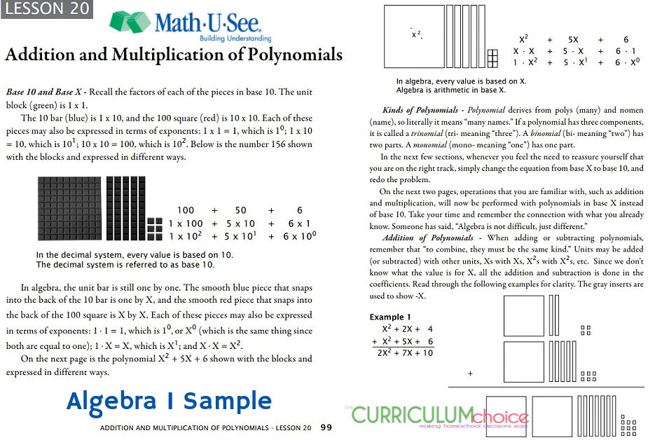 Math-U-See Algebra I is a hands on algebra curriculum that is great for visual-spatial learners using manipulatives to demonstrate problems.