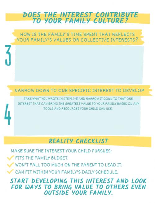 Parent Their Passion interest worksheet