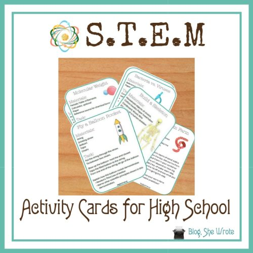 a graphic of STEM cards on a table
