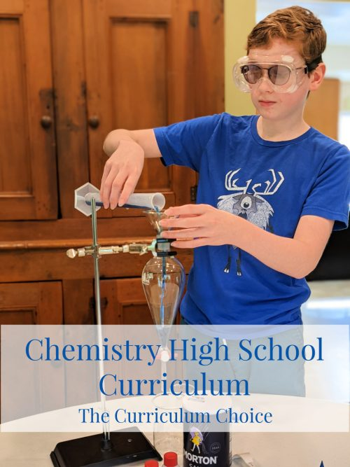 In this post, find chemistry high school curriculum, resources and tips for teaching high school chemistry at home. Chemistry is a necessary course for high schoolers considering college, especially if they are going into STEM fields or competitive schools. Teen boy pouring a solution into a sepatory funnel using a graduated cylinder