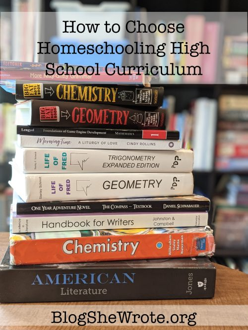 stack of high school texts books on a table in front of a bookshelf. How to choose Chemistry High School Curriculum for Homeschool